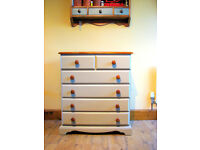 Vintage Solid Medium / Large Pine Chest Of Drawers Painted Country Farmhouse