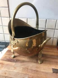 Beautiful Ornate Brass Effect Coal Bucket
