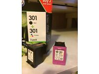 NEW HP Cartridge black 301 and 301 Tri-colour