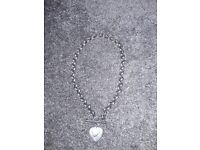 T bar silver necklace with 2 love hearts real silver £110 ono
