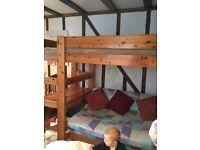 Double sofa bunk bed bottom / single top bunk