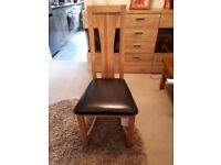Oak leather Six dining chairs