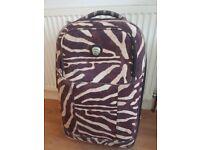 Brown animal print medium suitcase luggage