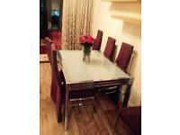 John Lewis Chrome and Frosted glass extendable dining table with 8 aubergine chairs