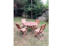 Garden table with 4 chairs - hardwood