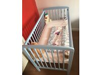 Blue cot with matress