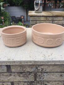 Hardly used dog bowls