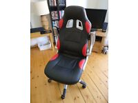Home Office/Gaming Chair with Adjustable Height and Folding Padded Arms (PU Leather)