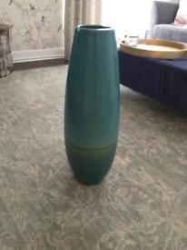 Teal floor standing vase