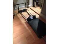 Aero Pilates Reformer with pull up bar and rebounder. Excellent condition. Buyer collects £300