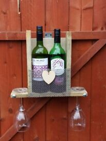 Outdoor wine and glass holder