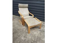Ikea poang recliner chair and footstool