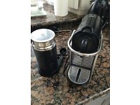 Nespresso Krupa coffe machine, milk frother and coffee for sale
