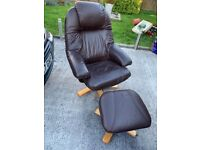 Leather swivel recliner chair and footstool
