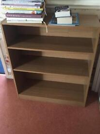 Pine effect small wooden bookcase