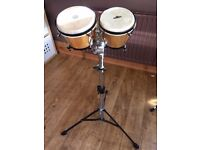 LP Bongos, Toca Stand and Percussion Racket Bongo Case Near Mint Condition