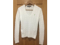 Ladies/Women's Ralph Lauren White Cable Knit V Neck Jumper/Sweater Small