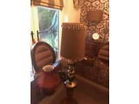 LOVELY COPPER & BROWN LAMP PLUS 2 NEW WRAPPED WHITE COOLIE SHADES & FREE VICTORIAN SHADE EX COND