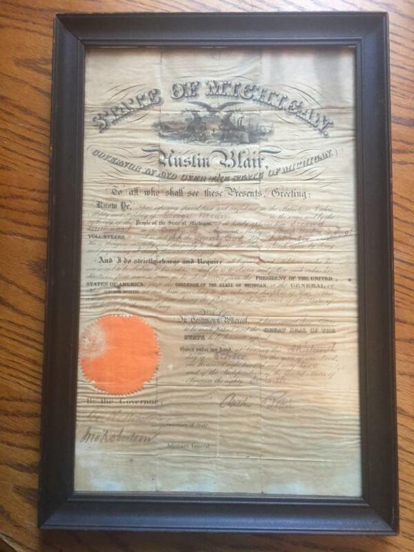 Antique 1862 State of Michigan Governor Austin Blair Signed Civil War Document