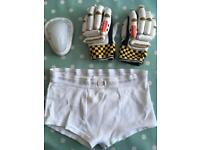 Cricket gloves, box and pants for child