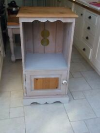 Solid Pine Unit with Cupboard - Grey distressed and waxed - lid opens Multi use