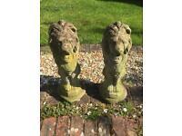 2 x concrete lions
