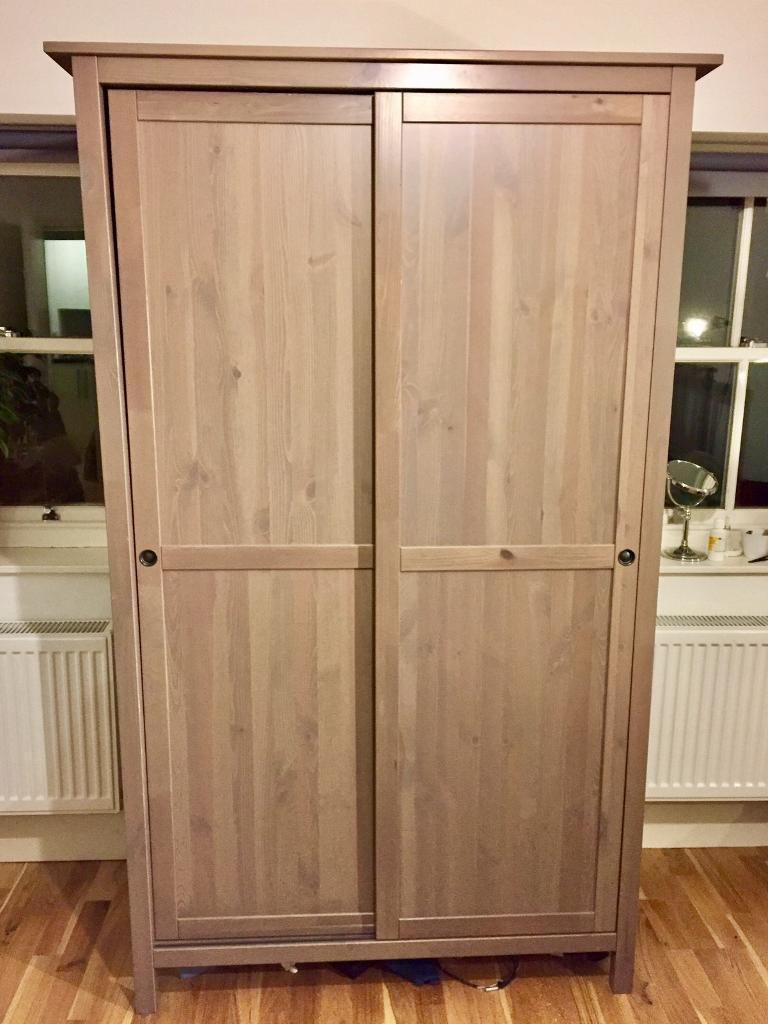 ikea hemnes wardrobe with two sliding doors in grey brown. Black Bedroom Furniture Sets. Home Design Ideas