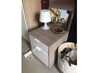 Two IKEA Bedside Tables - 42x42x50 - White-stained oak body with white drawers - Good condition!