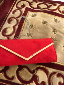 Red envelope clutch bag with gold border (QUIZ ), £10, brand new.