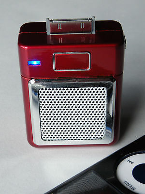 Red Mini iPod phone or MP3 player dock speaker rechargeable