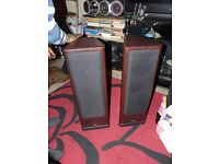 2 x Tannoy 633 stereo speakers floor-standing rosewood effect powerful home cinema monitor biwiring