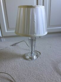 Small lamp with round cream shade
