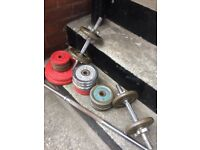 Cast iron weights inc long and short bars, 53kg in total
