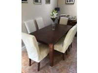 Dining table and 6 fabric chairs and sideboard