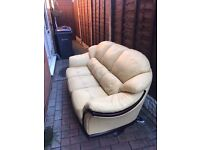 Solid cream/yellow 3 seater real/natural leather sofa, used but in good condition