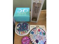 Job lot 30th gift and badges - birthday gift