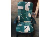2no Green Plastic Recliner Garden Chairs