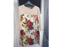 Ted Baker Embellished Dress Cream And Floral With Sheer Sleeves