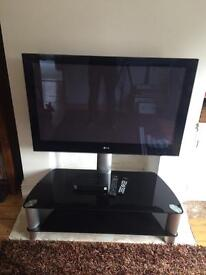 """42"""" LG TV, Freesat Box and cantilever TV stand"""