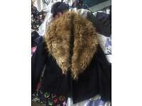 Black fur winter coat