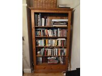 Gorgeous solid wood large bookcase with 4 shelves & two drawers 200 x110cm