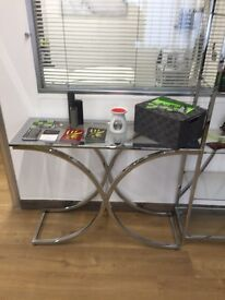 Houston Glass & Chrome Console Hall Table