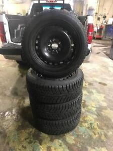 235 55R 18 HANKOOK IPIKE WINTER SNOW TIRES ON RIMS 5X120 BOLT PATTERN WORKS ON VW CHEV GMC ACURA BMW AND MORE 11/32