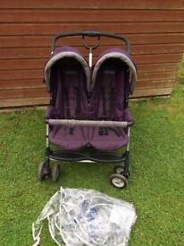 Graco purple twin double pushchair