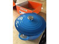 Le Creuset Casserole Dish Size 28cm Marseille Blue NEW HG3