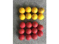 11 x Red & 8 x Yellow Cricket Bowling Machine Balls