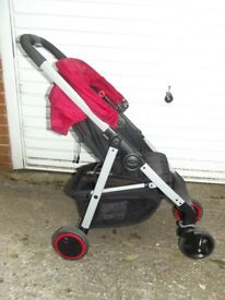 Pushchair, Graco Blox, black/red, inc muff, raincover. Hardly used.