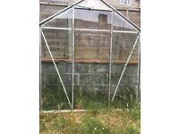 Glass Greenhouse with work bench/shelf