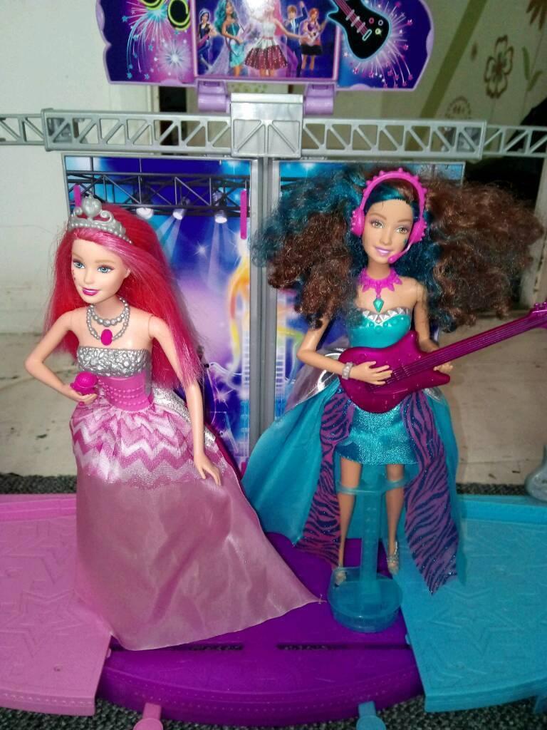 Barbie pop star dolls and stage