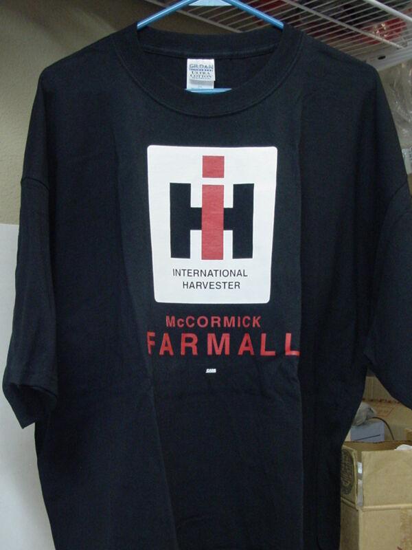 INTERNATIONAL HARVESTER BLACK FARMALL T-SHIRT with IH LOGO, NEW, L or 2XL